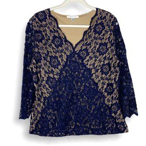 Coldwater Creek Navy Lace Surplice 3/4 Sleeve Top